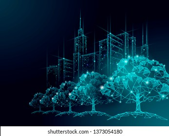 Low poly tree park cityscape. Ecology save nature concept. Eco idea forest in urban skyscrape city. Environmental pollution poster template vector illustration