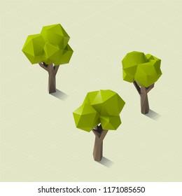 Low Poly Tree Set 3D Vector Rendering