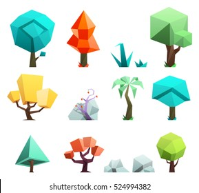 Low poly trees and rocks grass icons set vector illustration