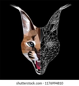 Low poly triangular caracal (lynxlike cat) face on black background, symmetrical vector illustration EPS 10 isolated.  Polygonal style trendy modern logo design. Suitable for printing on a t-shirt.