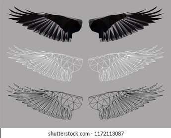 Low poly triangular crows' wings on grey background, symmetrical vector illustration EPS 8 isolated.  Polygonal style trendy modern logo design. Suitable for printing on a t-shirt.