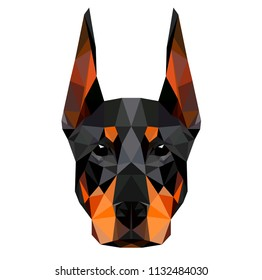 Low poly triangular dog doberman face on white background, symmetrical vector illustration EPS 10 isolated.  Polygonal style trendy modern logo design. Suitable for printing on a t-shirt.