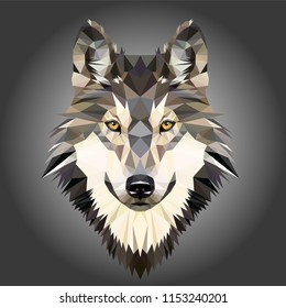 Low poly triangular dog wild wolf face on grey background, symmetrical vector illustration EPS 10 isolated.  Polygonal style trendy modern logo design. Suitable for printing on a t-shirt.