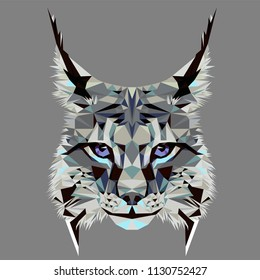 Low poly triangular lynx (bobcat) face with violet eyes on grey background, symmetrical vector illustration EPS 10 isolated.  Polygonal style trendy modern logo design.