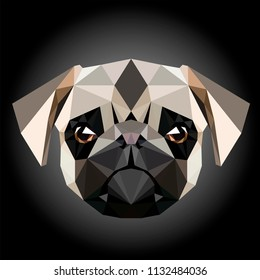 Low poly triangular pug (pug-dog) face on dark background, symmetrical vector illustration EPS 10 isolated.  Polygonal style trendy modern logo design. Suitable for printing on a t-shirt.