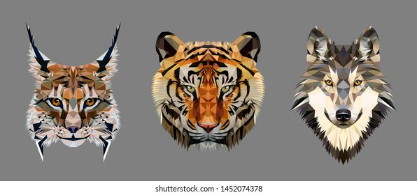 Low poly triangular tiger, lynx and wolf heads on grey background, vector illustration EPS10 isolated.  Polygonal style trendy modern logo design. Suitable for printing on a t-shirt.