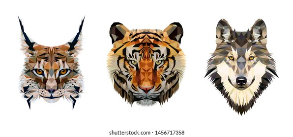 Low poly triangular tiger, lynx and wolf heads on white background, vector illustration EPS10 isolated.  Polygonal style trendy modern logo design. Suitable for printing on a t-shirt.