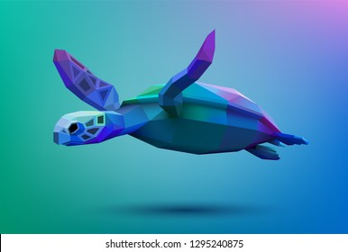Low poly turtle swimming in the ocean, eps10 vector.