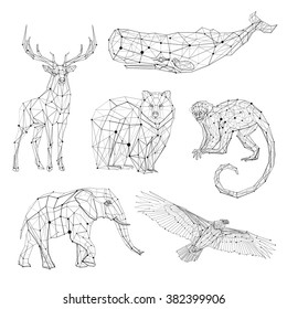 Low poly vector animals set: stylized linear wire construction. Abstract polygonal geometric illustration