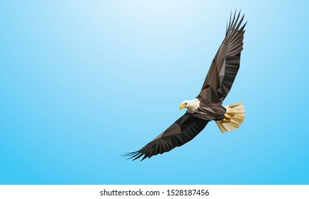 Low poly vector of a flying eagle in high detail. With blue background. EPS 10.