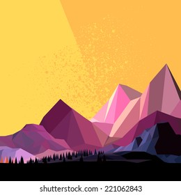 Low Poly Vector Mountain landscape.