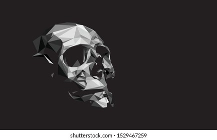Low poly vector of white human skull in detail. With black background. EPS 10.