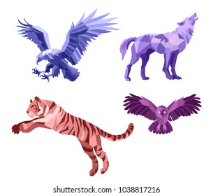 Low poly vector wild animals set: eagle, wolf, tiger, owl isolated on a white background. Dangerous predators. Original stylish logo design. Nature, animal, wild, freedom, power, biker, rock theme.