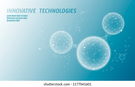 Low poly water molecule structure 3D render concept. Polygonal science research hyaluronic acid technology art. Futuristic modern abstract background. H2O cell connected wire mesh vector illustration