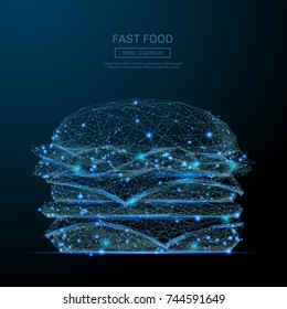 Low Poly wireframe Burger. Fast food concept. Vector hamburger mesh spheres from flying debris. Thin line concept. Blue structure style illustration. Cheeseburger polygonal image