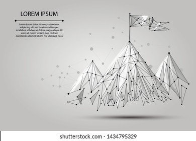 Low poly wireframe Flag on the top of mountain. Success in business, top or goal symbol. Vector illustraion