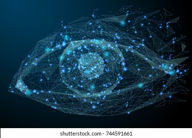 Low Poly wireframe technology eye. Futuristic concept. Vector eye mesh spheres from flying debris. Thin line concept. Blue structure style illustration. Scince polygonal image