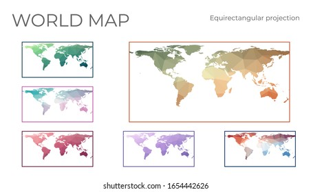 Low Poly World Map Set. Equirectangular (plate carree) projection. Collection of the world maps in geometric style. Vector illustration.