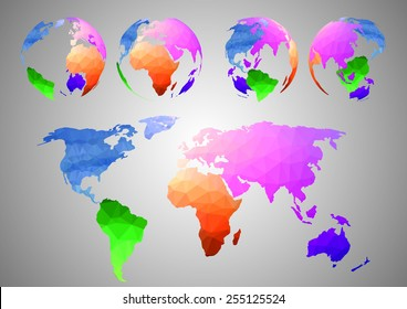 Low poly World map vector illustration with colorful Flatten map and four of round maps.