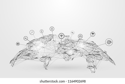 Low polygon Globe Map with social icons wireframe mesh on blue background