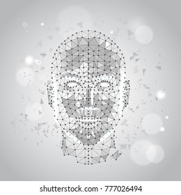 Low Polygon Human Face Wireframe Mash On Blue Background Vector Illustration