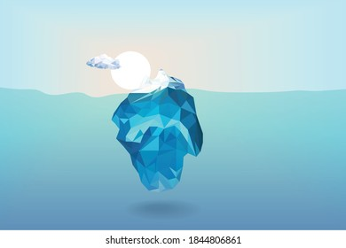 Low polygon iceberg with sunrise and cloud background in the ocean, illustration vector