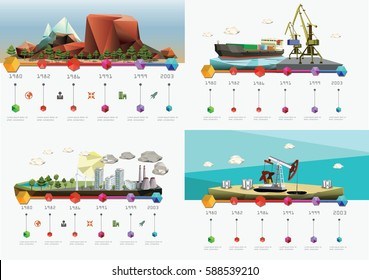 Low polygon industry Infographic timelines. Set of images. Vector illustration.