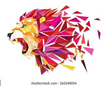 Low polygon Llion geometric pattern explode - Vector illustration