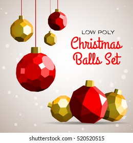 Low polygon merry christmas decoration balls vector illustration. Happy new year greeting card or flyer concept illustration.
