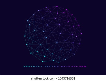 Low polygon mesh sphere, high tech vector background illustration