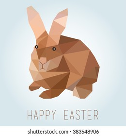 low polygon rabbit. Easter greeting card. vector illustration
