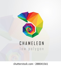 low polygon style abstract multicolored chameleon logo element. Geometric triangular lizard design element