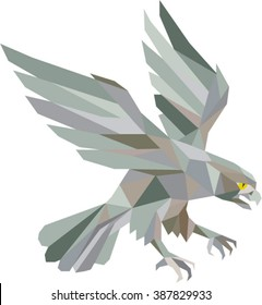 Low polygon style illustration in grey of a peregrine falcon hawk eagle bird swooping viewed from the side set on isolated white background done in retro style.