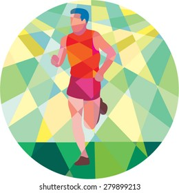 Low polygon style illustration of marathon triathlete runner running facing front set inside circle.