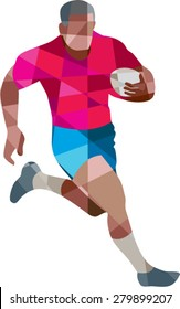 Low polygon style illustration of a rugby player holding ball running to the side set on isolated white background.