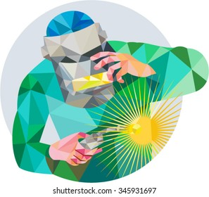 Low Polygon style illustration of welder worker with mask holding welding torch welding viewed from front set inside circle on isolated background.