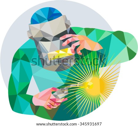 Low Polygon Style Illustration Welder Worker Stock Vector