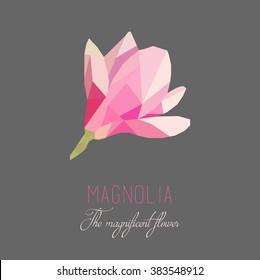 low polygon style magnolia. vector illustration