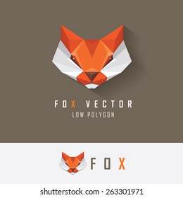 low polygon style red fox head logo element for business visual identity- triangular geometric abstract fox vector illustration with company name examples isolated on dark and light background