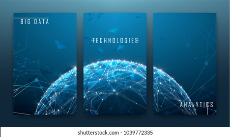 Low polygonal design, futuristic space or data and technology concept, 3d vector illustration with virtual reality effect, abstract tech background.