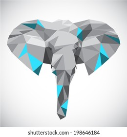 Low polygonal elephant head in popular style made of triangle shapes