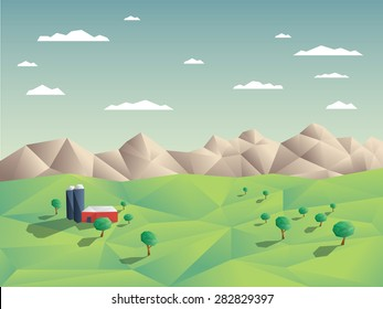 Low polygonal farming agriculture landscape concept illustration with mountains in background. 3d low poly shapes with shadows. Eps10 vector illustration.