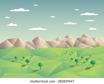 Low polygonal landscape concept illustration with mountains in background. 3d low poly shapes with shadows. Eps10 vector illustration.