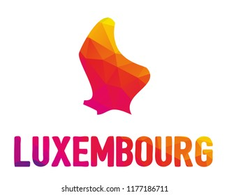 Low polygonal map of the Grand Duchy of Luxembourg (Luxemburg) with sign Luxembourg, both in warm colors of red, purple, orange and yellow; sovereign small landlocked country in western Europe
