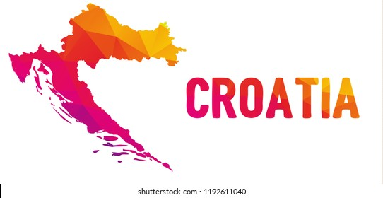 Low polygonal map of the Republic of Croatia (Republika Hrvatska) also known as Croatia (Hrvatska) with sign Croatia, both in warm colors; country at Central and Southeast Europe, on the Adriatic Sea