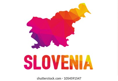 Low polygonal map of  Republic of Slovenia - Slovenija with sign Slovenia, both in warm colors of red, purple, orange and yellow; state in southern Central Europe