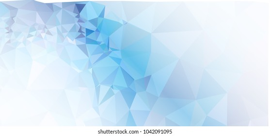 Low polygonal mosaic layout for horizontal banner, label, tag, flyer and abstract web background. Copy space. Vector clip art.