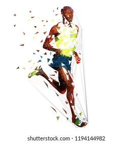 Low polygonal running man. Marathon runner, isolated geometric vector illustration