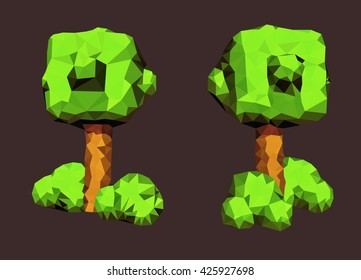 low polygonal trees with bushes.