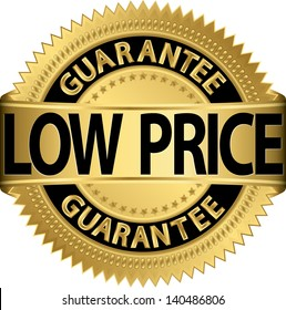 Low price guarantee golden label, vector illustration